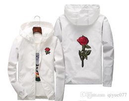 White Rose Pullover Australia - embroidery Rose Jacket Windbreaker Men And Women's Jacket New Fashion White And Black Roses Outwear Coat