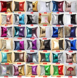 Wholesale 37 colors Sequin Pillow Case Reversible Sequin Mermaid Glitter Sofa Cushion Cover Pillow Case Double Color Pillowslip Case cover