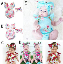 Discount flannel suits - INS Infants Floral Rompers Bodysuit With Headbands Ruffles Sleeve 2pcs Set Buttons Baby Summer INS Romper Suits 0-2 year