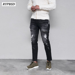 850ccac9a0e black ripped skinny jeans male 2019 - Ripped Biker Jeans Men Denim Skinny  Jeans Men Black