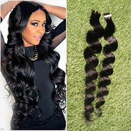 piano tape hair extensions 2019 - tape in human hair extensions 40pcs set Remy Tape Hair Extensions Double Sided body wave Skin Weft Hair Extensions disco