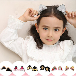 Discount baby hair clips korea - Korea type Baby girls Hair Clip Cat Ear Cute barrette children hairpins Chidlren Hair Accessories KFJ65