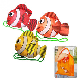 wholesale tropical fish bags UK - Portable Foldable Shopping Bag Large Capacity Nylon Bags 7 Color Tropical Fish Foldable Eco Reusable Shopping Bags 38cm x60cm