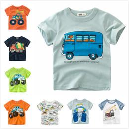 e572a43b3778b2 Cheap Summer Baby Boys Kids Cotton Tops Tees Crane Suvs Cars Bus Printing T-shirts  Clothing 90cm-140cm