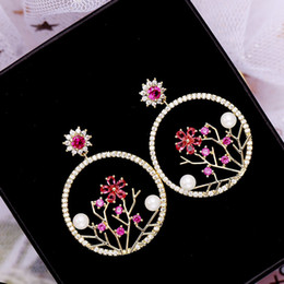 $enCountryForm.capitalKeyWord Canada - Brand Design Silver Earrings For Girls Top Quality Circle Flower Earring Jewelry Luxury Cubic Zirconia Ear Studs Wholesale