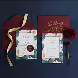 Flat Envelope NZ - Burgundy Theme Wedding Invitations Cards With Envelope 2018 Fashion Trend Flower Invitation Buckles For Birthday Party