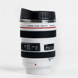 400ml Tela Criativa Tela Lens Shape Coffee Tea Travel Mug Frascos de vácuo de aço inoxidável Stylish Thermocup Gift Frete Grátis