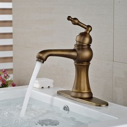 $enCountryForm.capitalKeyWord Australia - Wholesale And Retail Antique Brass Bathroom Basin Faucet Single Handle Hole Deck Mounted Sink Mixer Tap W  Hole Cover Plate