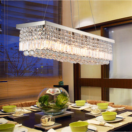 RectangulaR bedRoom ceiling light online shopping - 100 Original Rectangular Crystal Chandelier Dining Room Length cm LED Cyrstal Pendant Light Ceiling Lamp Chandiliers Lighting