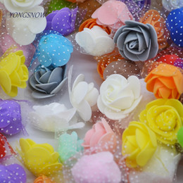 White Rose Crafts Australia - 50pcs lot Multi-use PE Foam Silk Rose Artificial Flower Head Handmade DIY Wedding Home Party Decorative Crafts Supplies