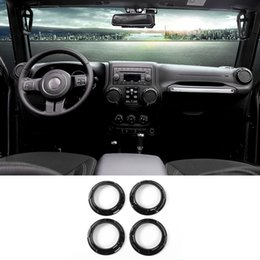 Car Air Condition Vent Decoration Ring ABS Interior Accessories Black Fit  For Jeep Wrangler 2011 2016 Car Styling