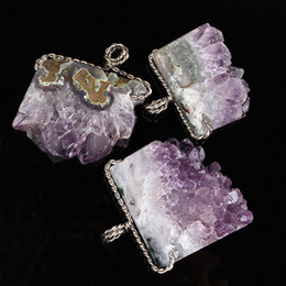 $enCountryForm.capitalKeyWord Australia - 1 Pcs Silver Plated Unique Raw Geode Amethysts Slice Wire Wrapped Pendant for Necklace Fashion Charms Jewelry Gift