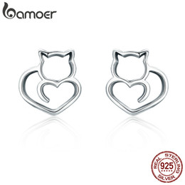 $enCountryForm.capitalKeyWord NZ - BAMOER Hot Sale Authentic 925 Sterling Silver Cute Cat Small Stud Earrings for Women Fashion Sterling Silver Jewelry SCE271