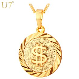 $enCountryForm.capitalKeyWord Australia - U7 Coin Necklace Men Women Fashion Jewelry Yellow Silver Gold Color Round Medal Money Sign US Dollar Necklaces & Pendants P619