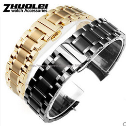 Discount 22mm curved end bracelet - High quality black|gold Flat end|curved end stainless steel watchband bracelet men 18mm 19mm 20mm 22mm free shipping