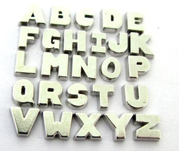 letter z lockets Canada - Wholesale 260PCS lot silver color plain Alphabet letter A - Z floating locket charms beads fit for DIY glass living memory locket