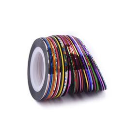 Nail Striping UK - Sale 30pcs Lot Nail Striping Tape Line Nail Art Decoration Sticker DIY Tips Glitter Self-Adhesive Decal Tools Manicure