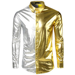 long gold downs 2019 - Fashion Mens Contrast Color Casual Bright surface Shirts Mens Nightclub Shirt Designer Polyester Shirts Patchwork Shirts