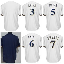Men Women Youth Milwaukee Cool Base custom any name number Baseball Jersey  3 Orlando Arcia 5 Jonathan Villar 6 Lorenzo Cain 7 Eric Thames 4226cf260