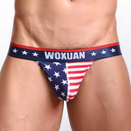 $enCountryForm.capitalKeyWord NZ - 5 Pcs  Lot American Flag Print Man Cotton Bulge Pouch High Fork Briefs Underwear  Gay Funny Seamless Jockstraps Panties