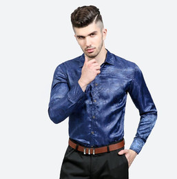 flowered shirts for men UK - Bright Silk Shirts Men 2018 Promotion Autumn Long Sleeve Casual Cotton Flower Shirts for Men Designer Slim Fit Dress Shirts
