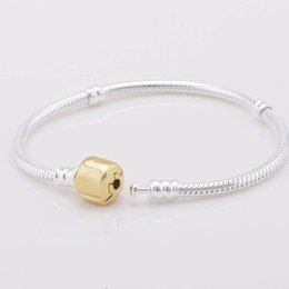 pandora gold snake NZ - 1pcs Drop Shipping Gold Bracelets with LOGO Silver Snake Chain Fit for pandora Bangle Logo Golden Bracelet Women Children Gift