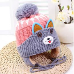 Baby Boy Skull Crochet Beanies Australia - Winter baby Pom Pom Hat Kids Cute Cartoon cat Ear Beanie Knit Cap Boys Skullies Knitted Hats Children Crochet Woolen Warm Caps