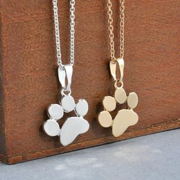 Dog penDant footprint online shopping - Fashion Cute Pets Dogs Footprints Paw Chain Pendant Necklace Choker Necklaces Pendants Jewelry for Women Statement necklace