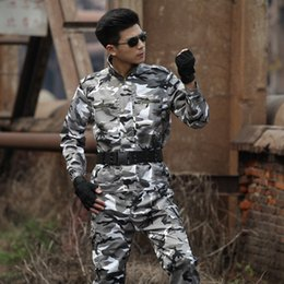 combat suit army 2019 - Outdoor Men's Camouflage Hunting Suit Tactical Uniform sports Hiking Sets Army Combat Sets Men Training Ghillie Sui