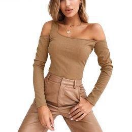Kimono Tshirt NZ - Fashion One Shoulder Knitted Top T Shirt Women Long Sleeve Sexy Hollow Out Tshirt Women Streetwear Solid Slim Tee Tops