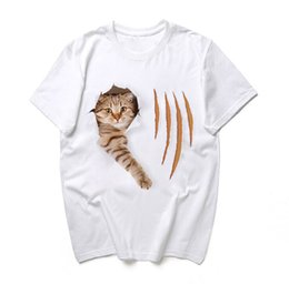 350dca7b Men 3D Printing Cat T-shirts White Crew Neck New Fashion Cute Men Women  Couple T-shit Summer Male Clothed Casual Tee
