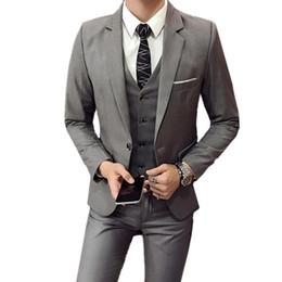 Casual Trouser Suits NZ - Blazers Pants Vest 3 Pieces Sets   Fashion men's casual boutique business Wedding Groomsmen suit jacket coat trousers waistcoat S18101903