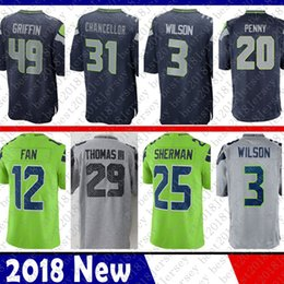 Discount fans 12 - Seattle 49 Shaquem Griffin 3 Russell Wilson Seahawks Jersey 12 12th Fan 31 Kam Chancellor 20 Rashaad Penny 25 Sherman 16