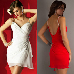 Strapless Sequin Red Dress Australia - Sweetheart Short Mini White Cocktail Dress Chiffon Spaghetti Straps Red Homecoming Dresses Cheap