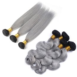 Gray bundles online shopping - 9A b Grey Ombre Brazilian Virgin Human Hair Extensions Ombre Gray Peruvian Malaysian Indian Cambodian Body Wave Straight Hair Weave Bundles