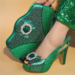 Shoes Green Color Australia - Italian Matching Shoes and Bag Set African Wedding Shoe and Bag Set Italy Deep Green Color Summer Women High Heels Sandal Shoes