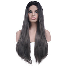 cheap ombre lace wigs UK - Cheap Long 2 Tones Synthetic Lace Front Wig Gray Grey Silver Ombre Hand Tied Silky Straight Wigs Dark Roots Heat Resistant Fiber Hair