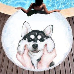 Towels For Dogs NZ - Round Beach Towel for Kids Adults Cute Dog Cartoon Printed Tassel Yoga Mat Large Towel Microfiber Toalla Blanket