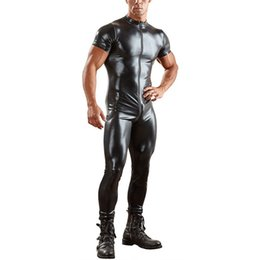 b507d4159 Plus Size 3XL Man Leather Latex Catsuit Bodysuit Black Shiny Erotic Short  Sleeve Bodysuits Zentai Body Wear One Piece jumpsuit