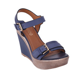 Buckle Backs Canada - HEYIYI Shoes Women's Platform Sandals Wedge Back Strap Sandals Solid Buckle Strap PU Leather Sandal Blue Camel Large Size Shoes Wholesale