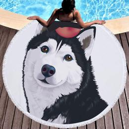 $enCountryForm.capitalKeyWord NZ - Lannidaa Cartoon Dog Round Beach Towel 3D Printed Large Bath Towels For Adults Microfiber Toalla Blanket Picnic Carpet 150CM