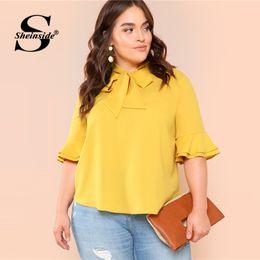 04a8e1b86dd7 Sheinside Plus Size Plain Yellow Tie Neck Workwear Top Office Ladies  Flounce Sleeve Ruffle Bow Solid Women Summer Elegant Blouse