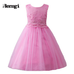 Wedding Dress Cyan NZ - New style summer baby girl lace flower girl dress for wedding girls party dress with bowknot dress 3-10 yrs