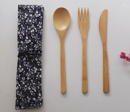 bamboo spoon fork 2019 - Bamboo Cutlery Set Spoon Fork Knife Tableware Set with Cloth Bag Eco-Friendly Portable Utensil Tableware Set cheap bambo