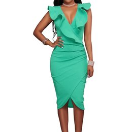d75169a8df 2018 Women Summer Dress Sexy Sleeveless V Neck Pencil Party Dresses Ladies  Ruffles Bodycon Slim Midi Club Vestidos