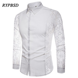 2018 Nouveau Automne Noir Blanc Patchwork Dentelle Chemise Hommes  Transparent Sexy Partie À Manches Longues Chemises Camisa sociale masculina 819fe3ca2b5
