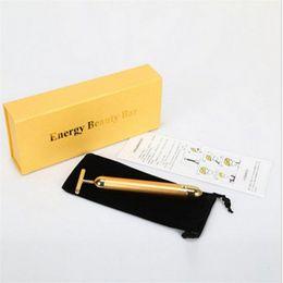 Toptan satış 24 K Güzellik Çubuğu Altın Derma Rulo Enerji Yüz Masaj Güzellik Bakım Titreşim Yüz Masaj Elektrikli Q120