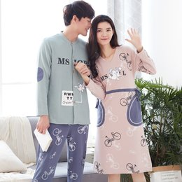1af433e6d6 Men Cotton Pajamas Set Couple Casual Cartoon Sleepwear Long Sleeve Nightwear  Women Pyjama Lounge Wear Home Clothes Autumn Winter
