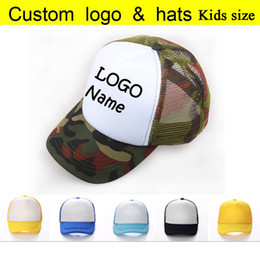 custom kids hats Canada - Blank Camo Kids Cap Baby Custom Summer Trucker Hats Children Mesh Cap Printed Child Son Name Adjust Baseball Cap camouflage Boys