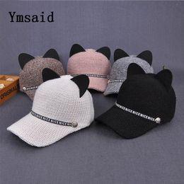 8600bff8f53 Ymsaid New Fashion Women Sequins Cat Ear Baseball Cap Curved Brim Snapback  Hats Hip Hop Caps Winter Solid Sun Hat
